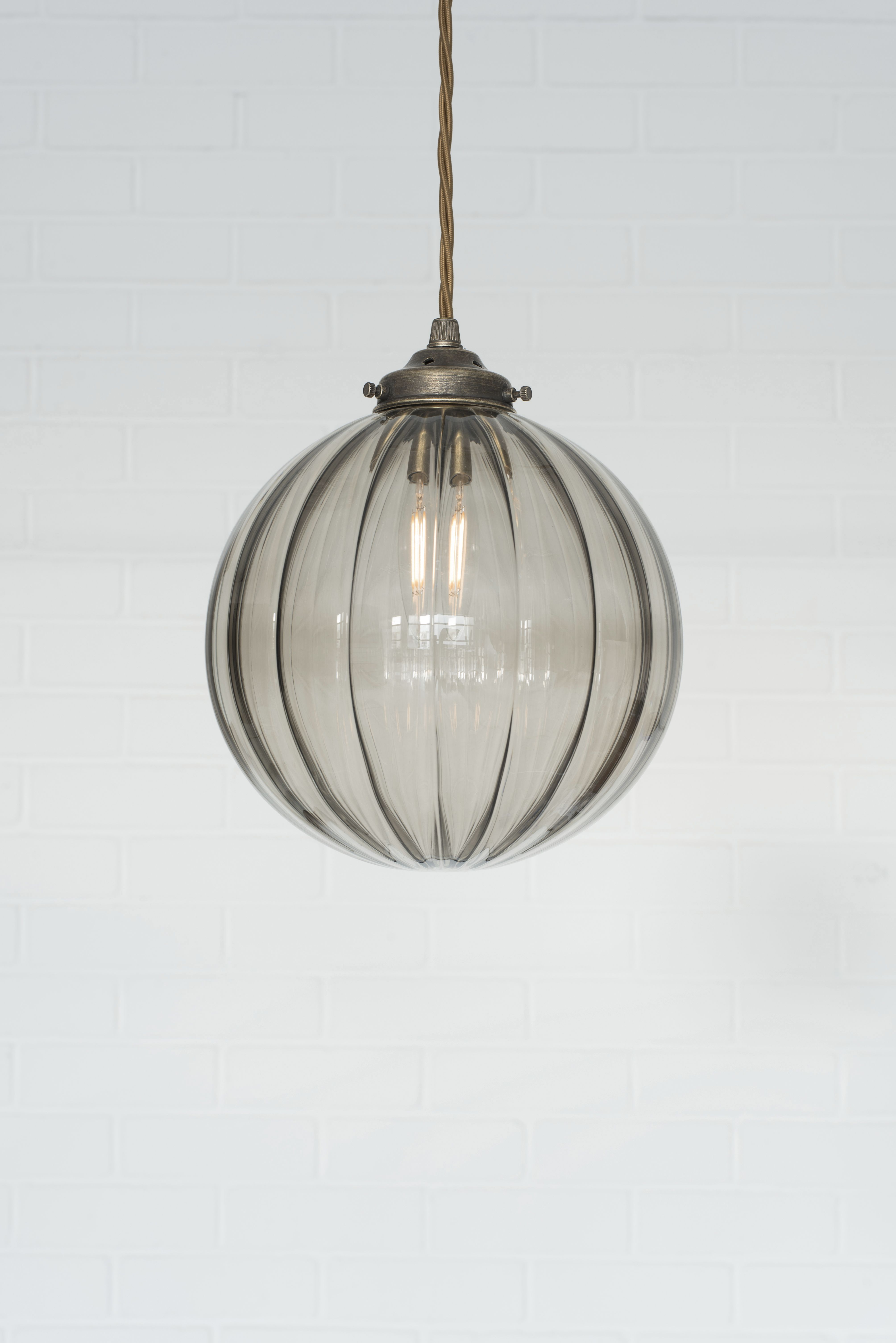 Fulbourn Charcoal Coloured Gl Pendant Lightin Polished In