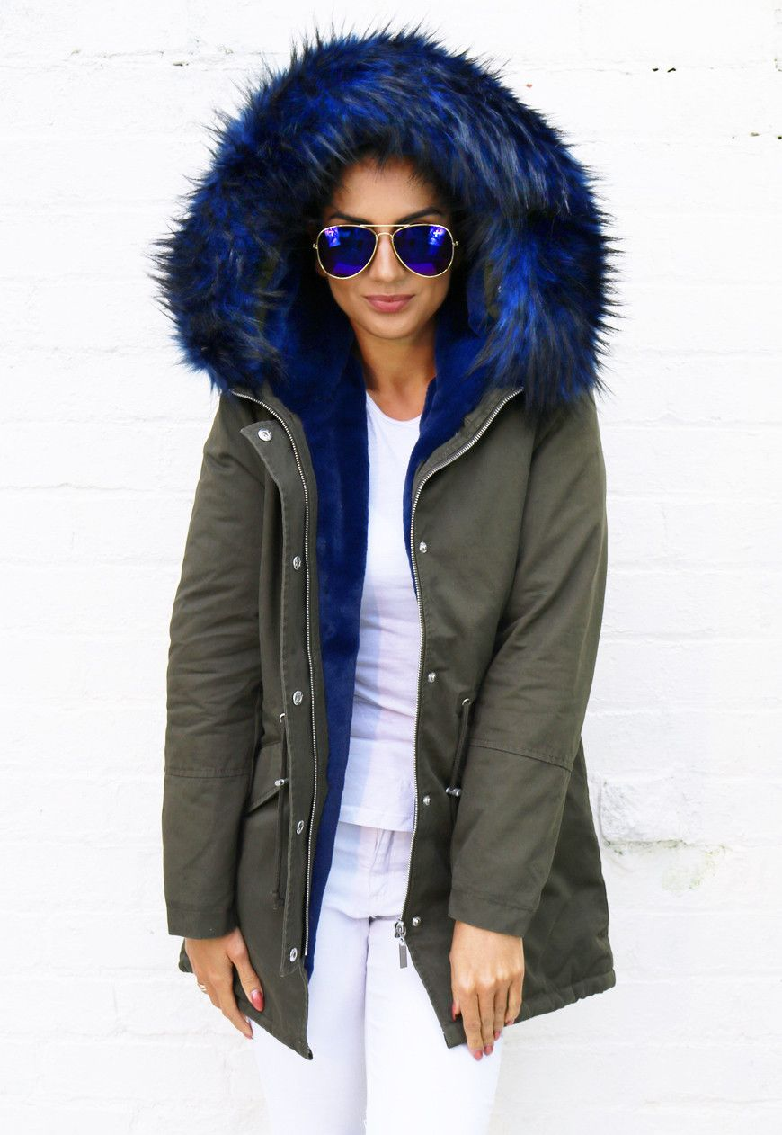 Ferne Faux Fur Trim & Lined Parka in Khaki Green with Blue - One ...