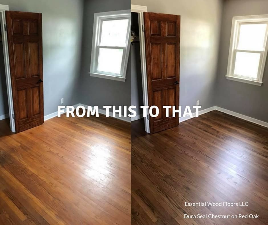 Beautiful Red Oak Upgrade By Essentialwoodfloors Goodbye Red Hello Duraseal Chestnut Wood Floor Stain Colors Red Oak Floors Red Oak Hardwood Floors