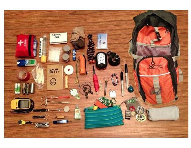 what's in your geopack? a look inside the geocaching bag