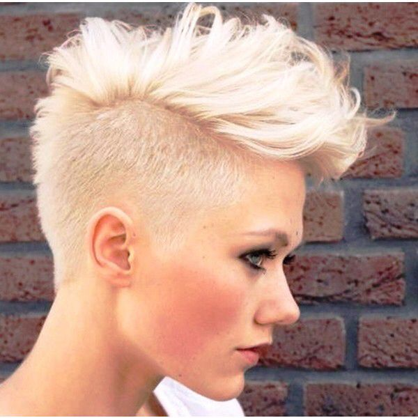 Bleached Blonde Soft Mohawk Mohawk Hairstyles For Women Hair Styles Short Hair Styles