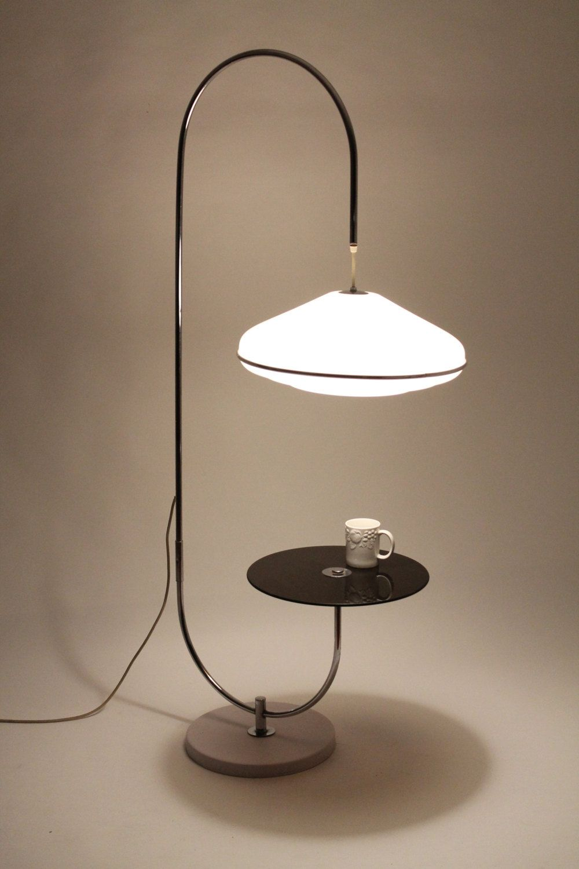 UNIQUE TABLE / LAMP minimalist modern 1970 era Unique