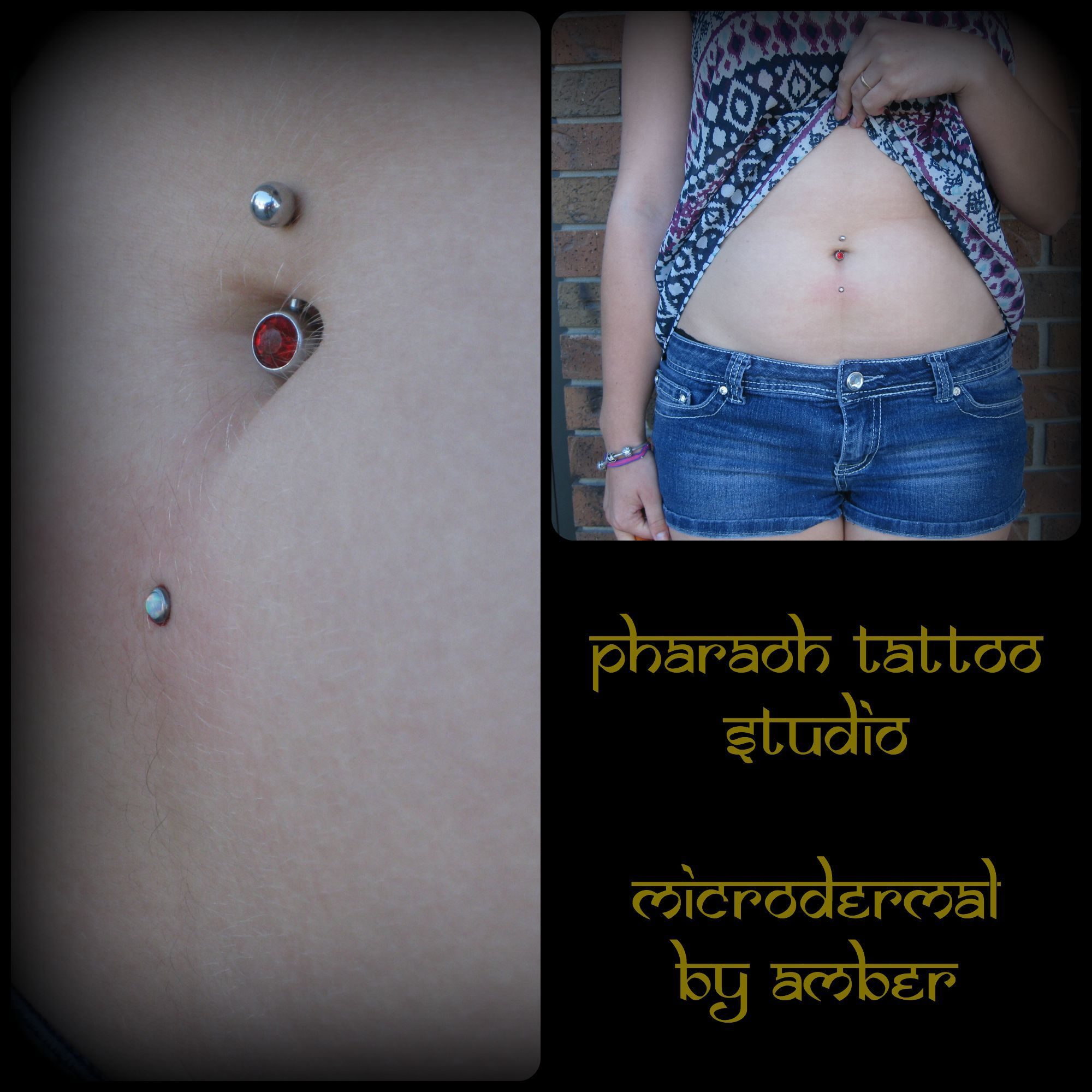 Surface piercing under belly button  Pin by Pharaoh Tattoo Studio on Piercings and Microdermals by Amber