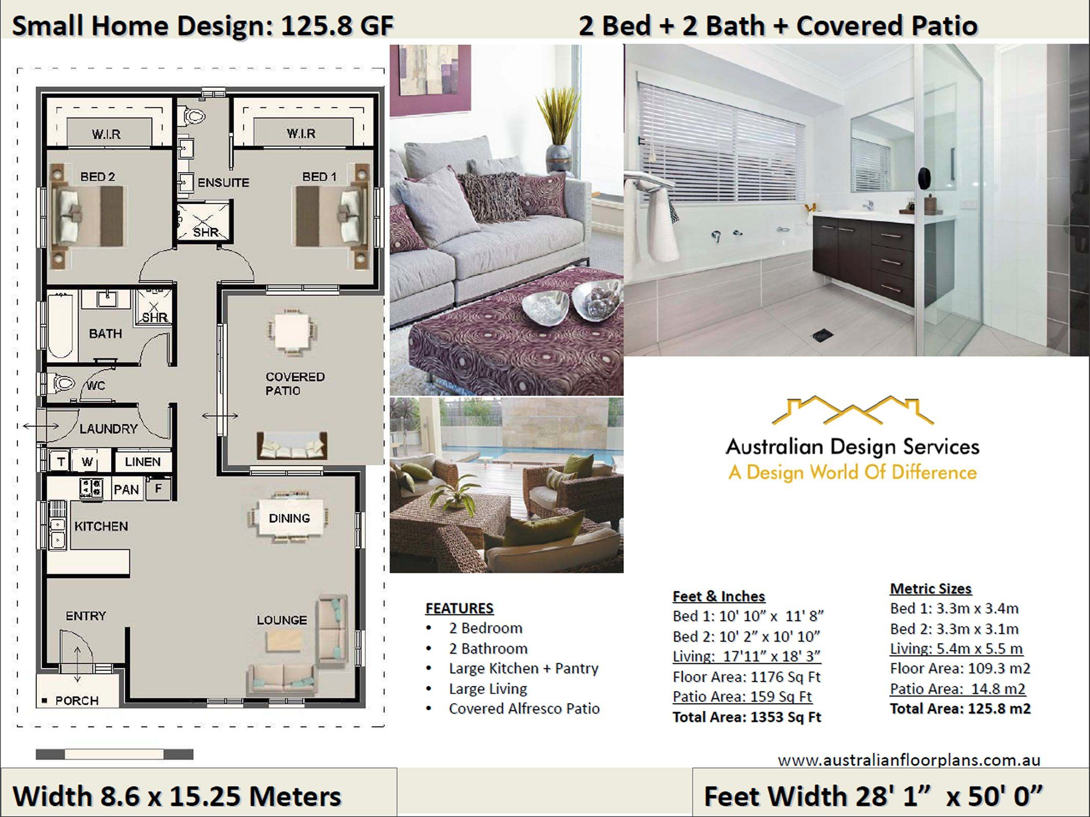 Small Home Design 2 Bed 2 Bath House Plan 125 8gf Concept House Plan Set Small House Design Small House Plans Bedroom House Plans