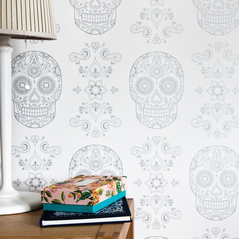 Day Of The Dead Sugar Skull Wallpaper In White Silver Available At