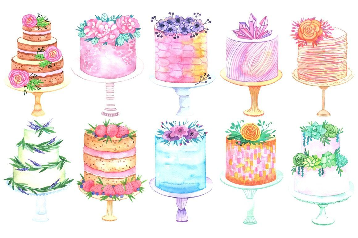 Wedding Cake Clipart Watercolor Pencil And In Color Cake Drawing