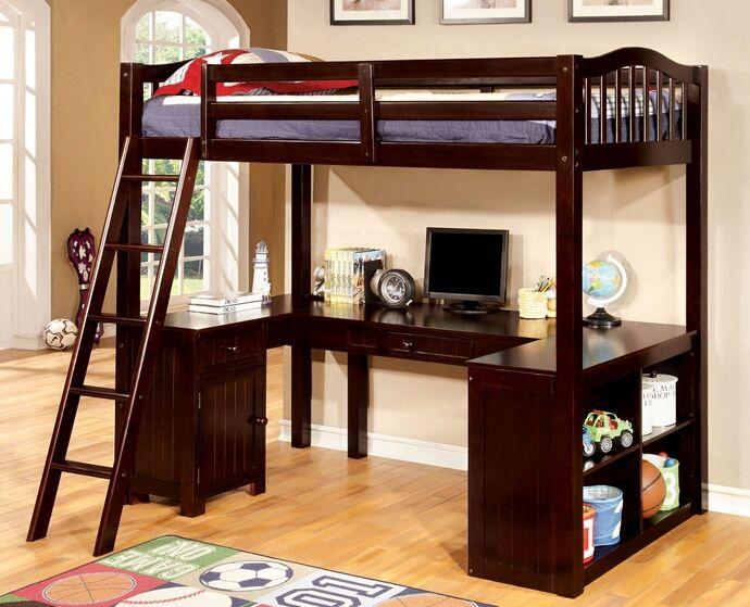Cm Bk265exp Dutton Dark Walnut Finish Wood Twin Bunk Bed With Lower Workstation U Shaped Desk Underneath Twin Loft