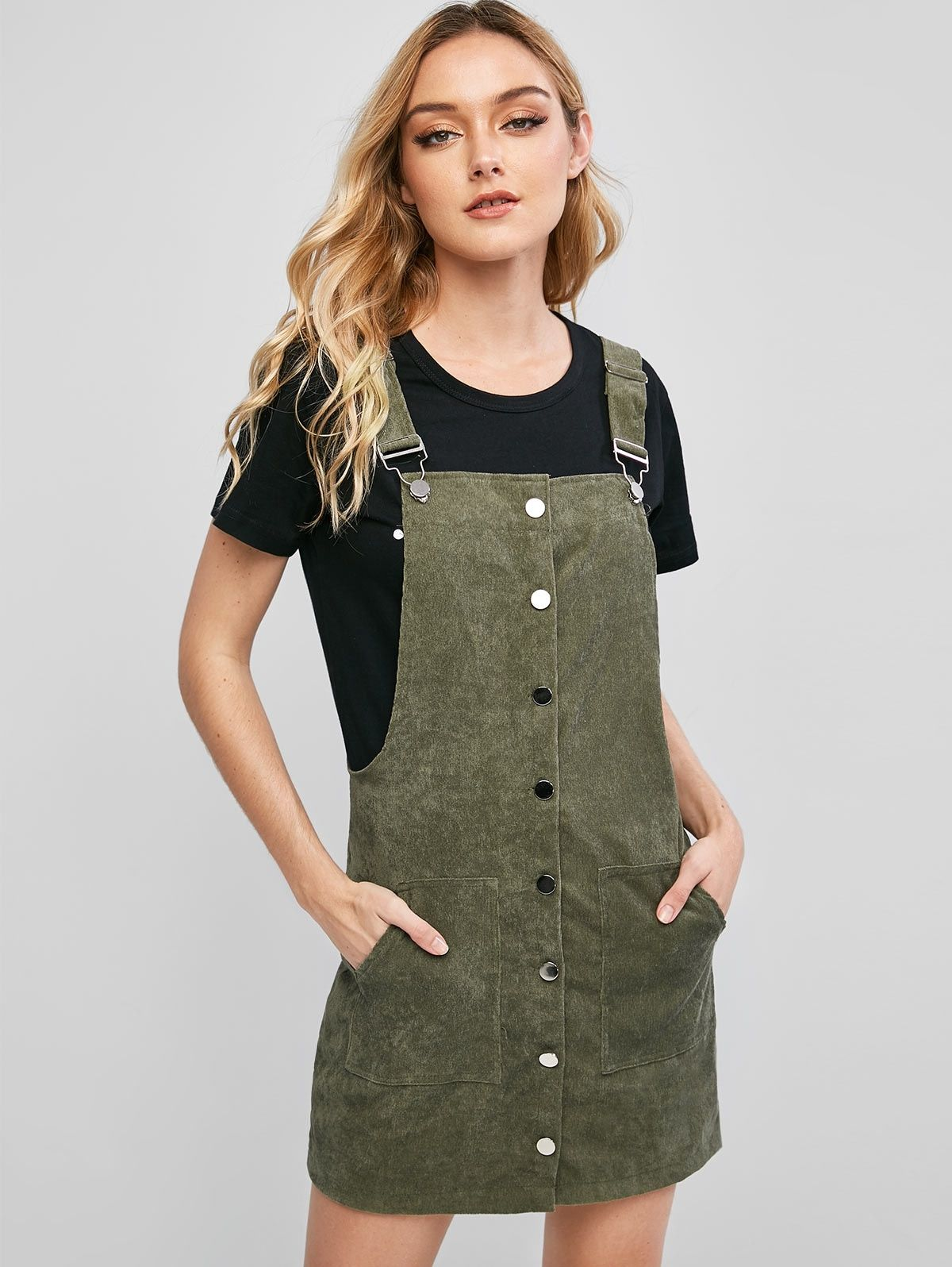 Pockets Corduroy Button Up Overalls Dress Camouflage Green Affiliate Button Corduroy Pocke Overall Dress Cute Casual Dresses Long Sleeve Casual Dress [ 1596 x 1200 Pixel ]