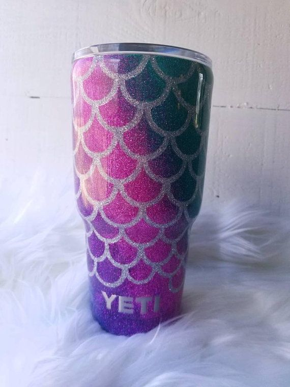 Mermaid Scales Glitter Yeti Ozark Tumbler 4 Swirl Fade Vacation Gifts For Her Gif