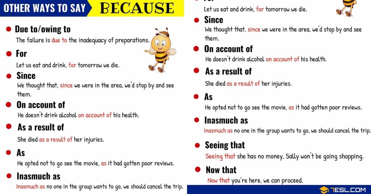 Because Synonym List Of Different Ways To Say Because In English With Examples And Esl Picture Learn English Vocabulary English Writing Skills Writing Words