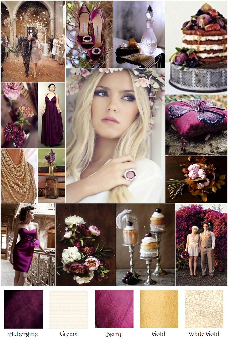 Autumn Eggplant Plum Gold Inspiration Board - These colors are exactly what  I want!