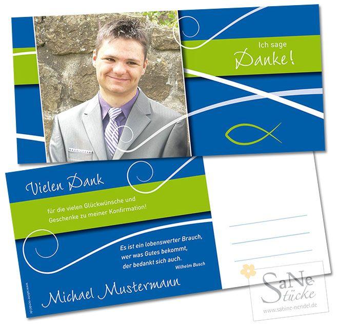 Einladungskarten Konfirmation Bestellen Einladungskarten: Dankeskarte Konfirmation & Kommunion Fisch