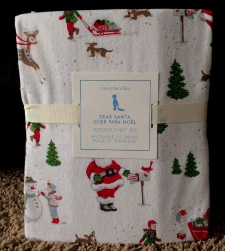 pottery barn kids dear santa toddler flannel sheets new christmas crib reindeer - Santa Sheets