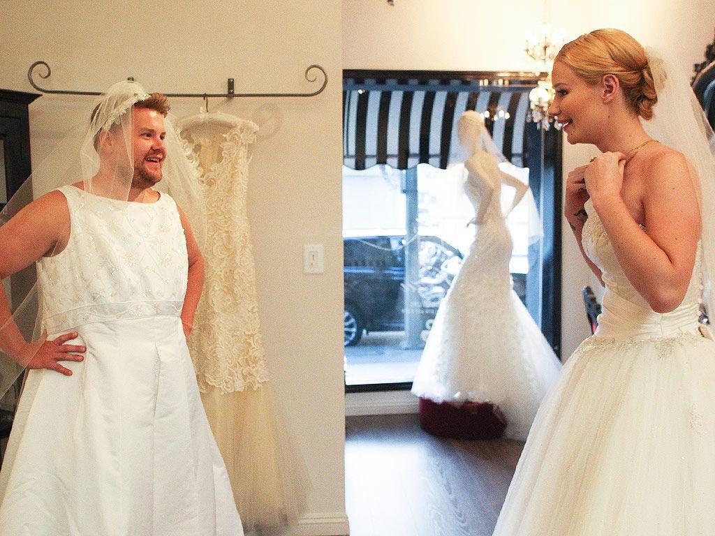 3c84c339de0 See Iggy Azalea and James Corden Try on Wedding Dresses on The Late Late  Show (Photos)