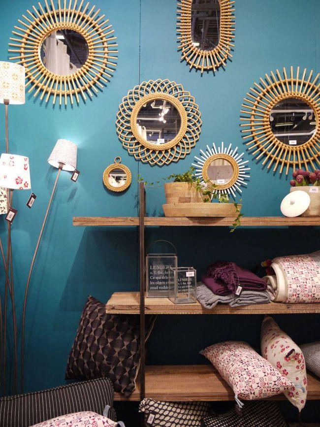 le grand boom du vintage rotin murs bleus et accumulation. Black Bedroom Furniture Sets. Home Design Ideas