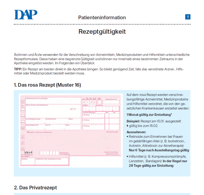 Rezeptgultigkeit Deutschesapothekenportal Apotheke Tipps Medizin