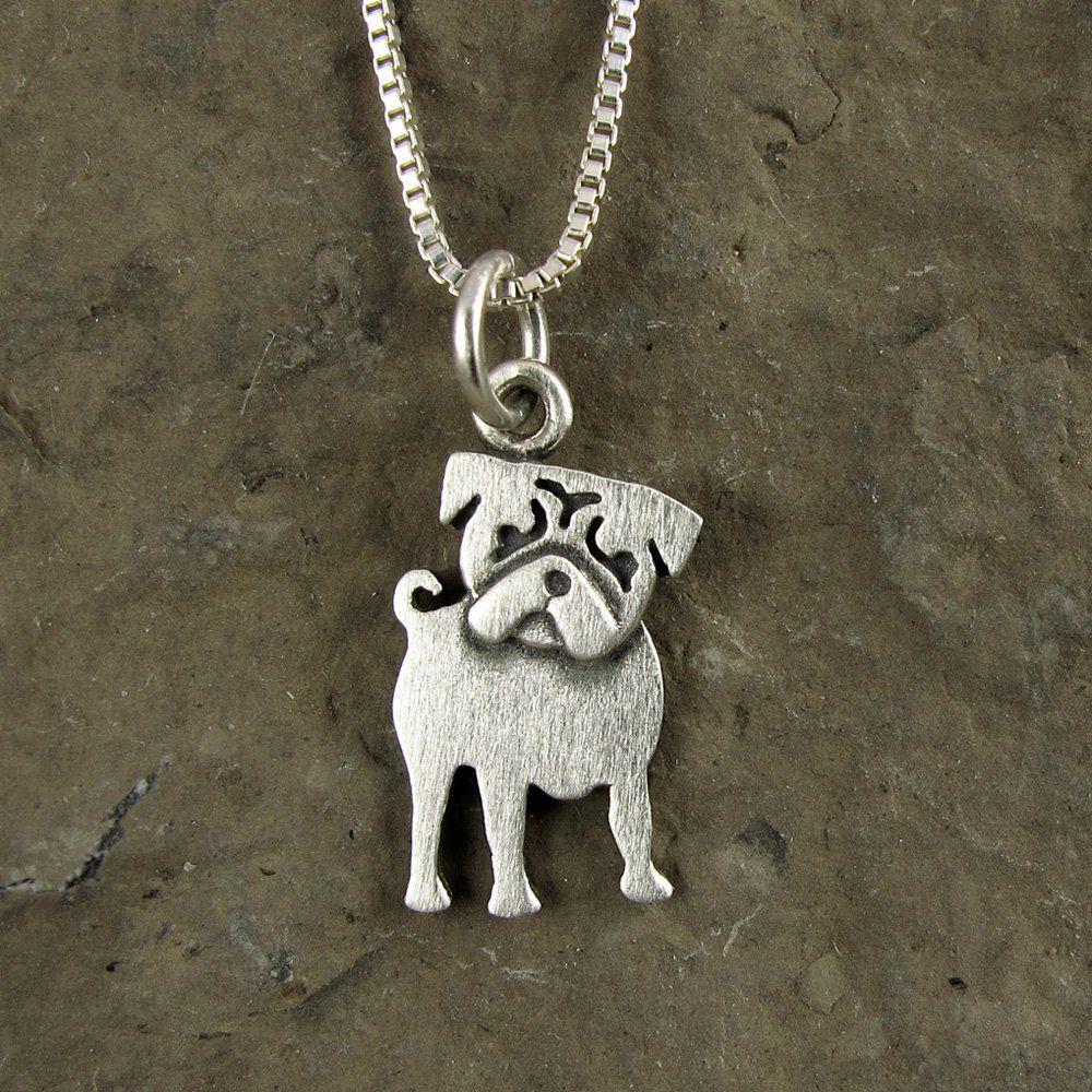 b1101cda10b6 Tiny pug necklace by StickManJewelry on Etsy