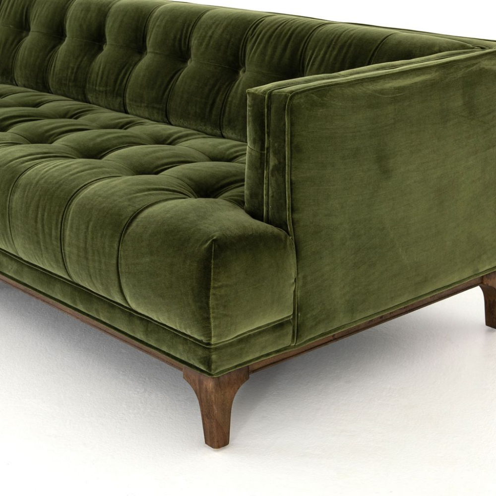 Dylan Sofa In Sapphire Olive In 2020 Green Leather Sofa Green Sofa Living Room Green Couch Living Room