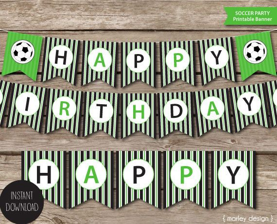 printable soccer party happy birthday banner instant download