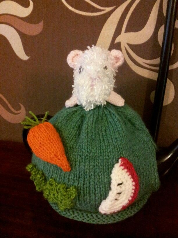Guinea pig tea cosy knitted