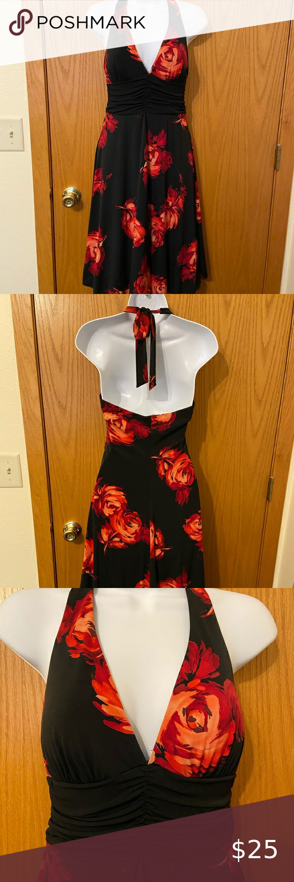 Black Halter Dress With Red Flowers Size Medium Black Halter Dress Dresses Halter Dress [ 1740 x 580 Pixel ]