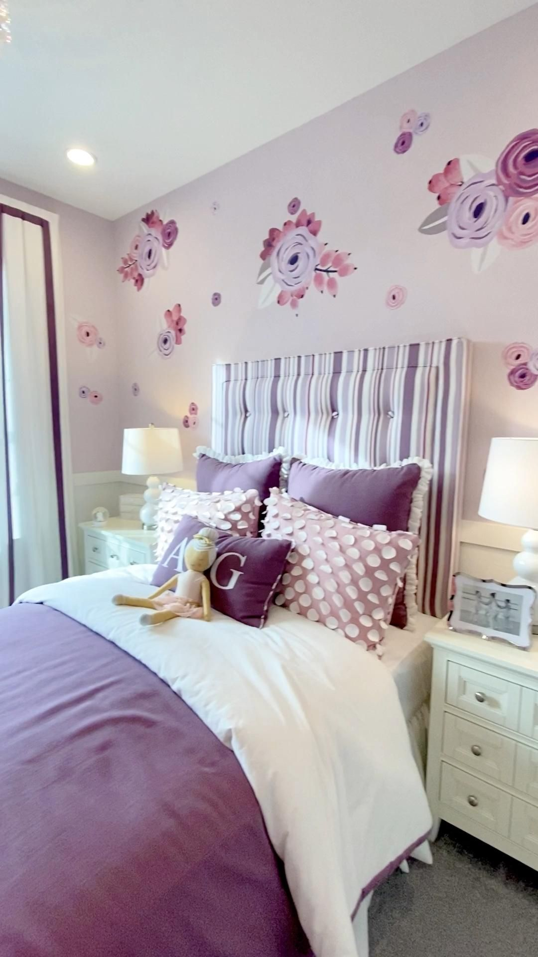 Floral purple and pink girls bedroom