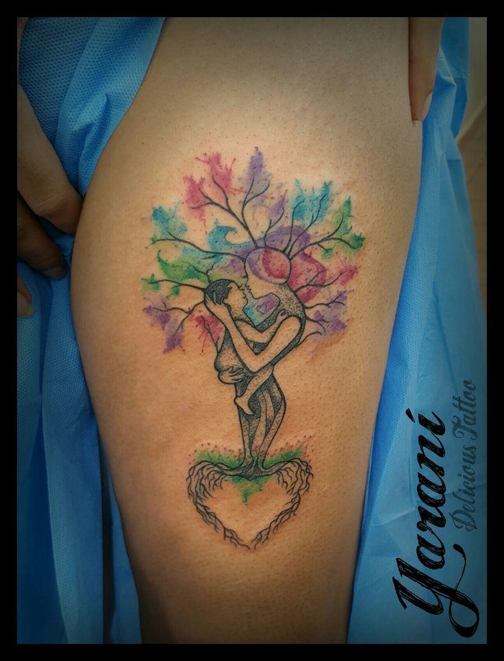 Tatuajes Acuarela Madre E Hija Tatuajes