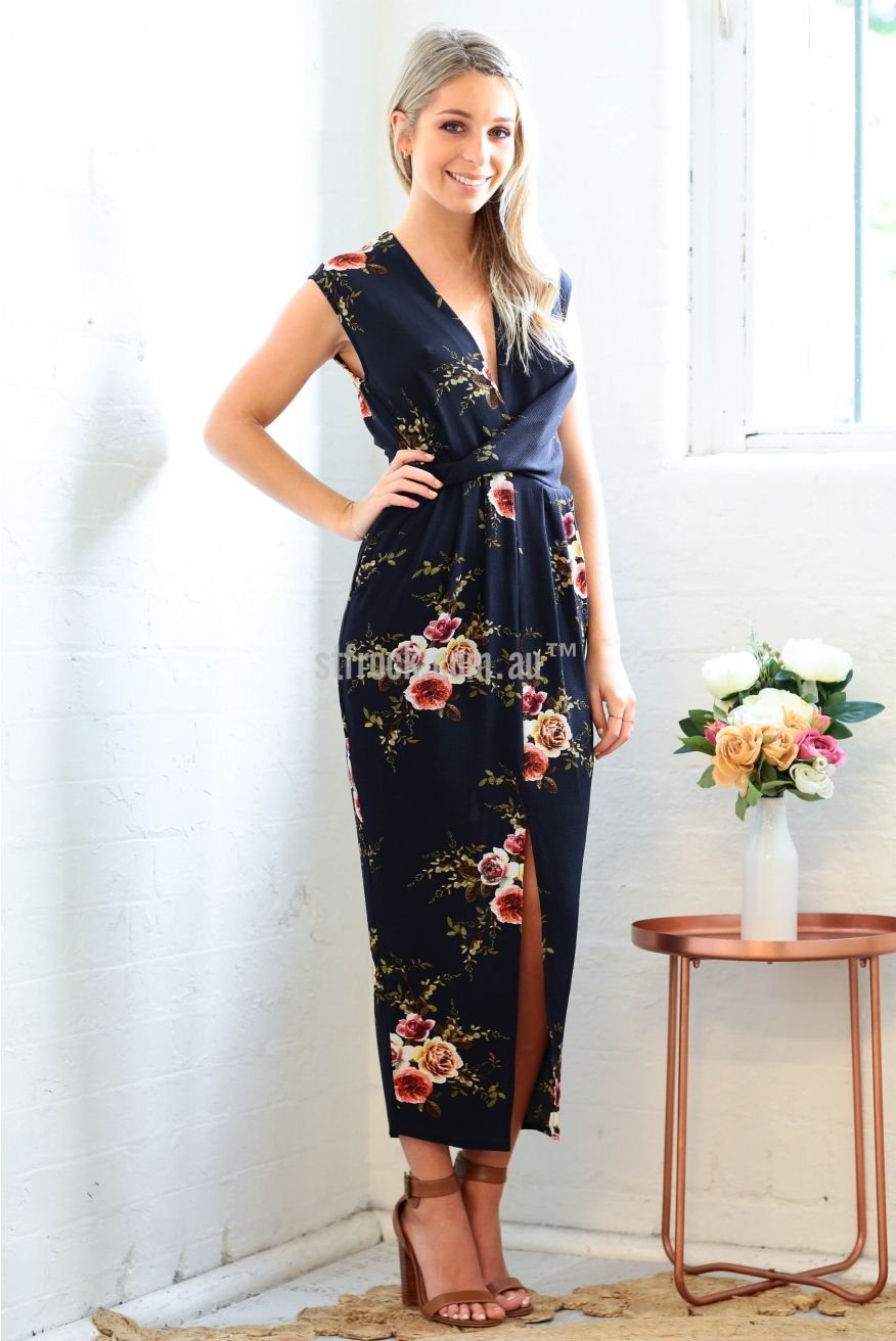 Addison Maxi Dress in Navy Rose Print | Dresses, Fashion, Frocks