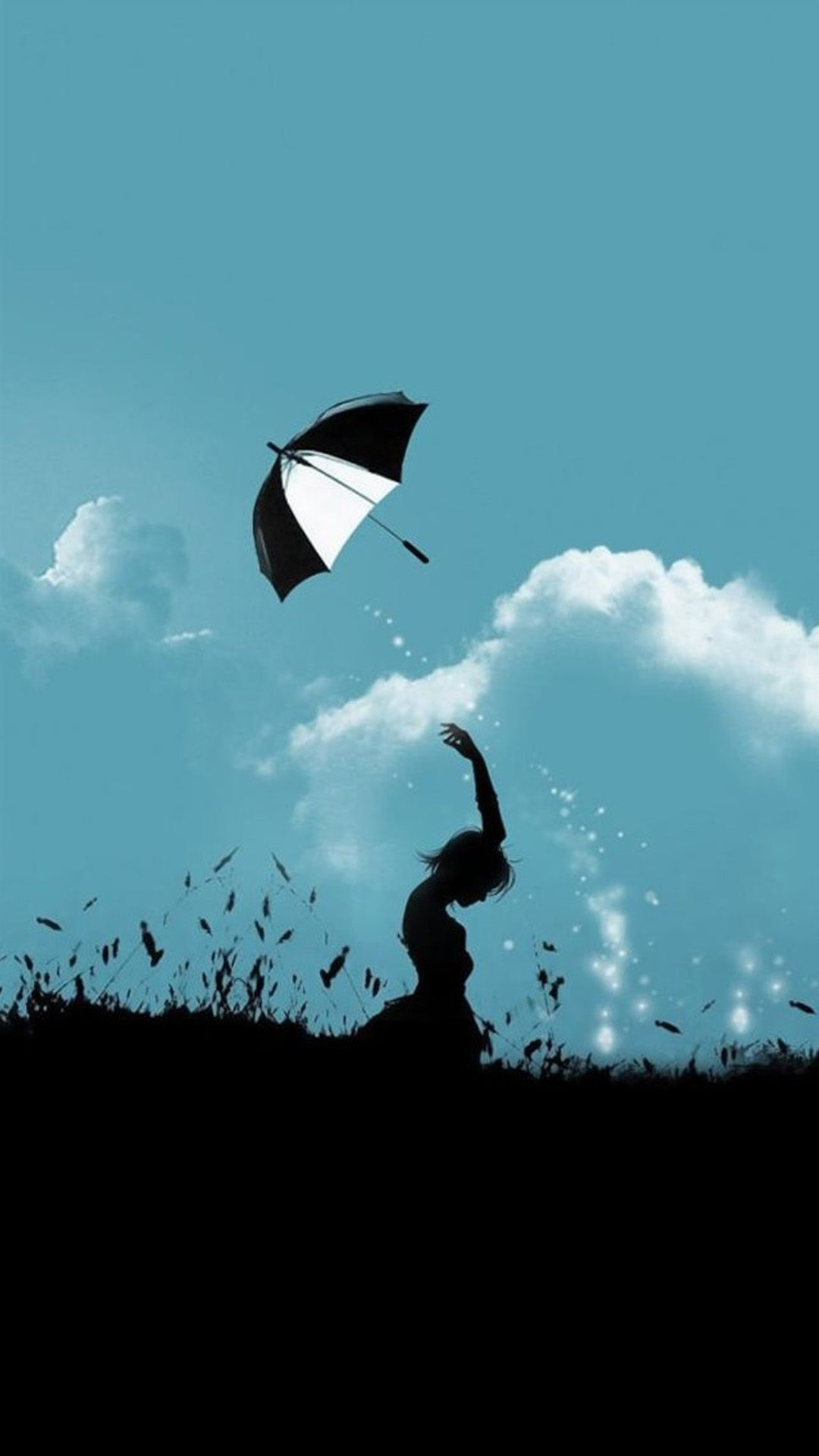 Hill Umbrella Throw At Cloudy Sky iPhone Wallpaper