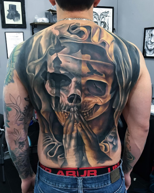 Skull 3d Tattoo Hande Auf Rucken Full Body Full Back Tattoos