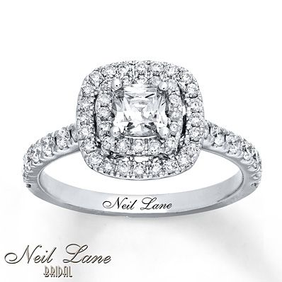 Simple Neil Lane Bridal Collection CT T W Princess Cut Diamond Frame Engagement Ring in K White Gold