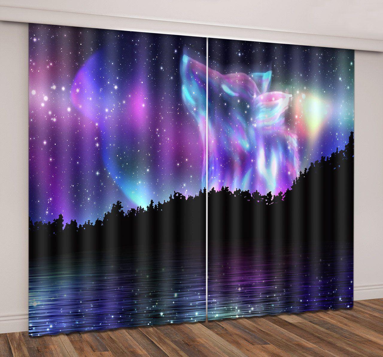 2Panel Set Blackout Starry Sky Curtain Living Room Bedroom Decor Window Curtains