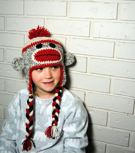 Sock Monkey Hat Kids Crochet Hat Toddler Girls Hat by TORYmakes ...