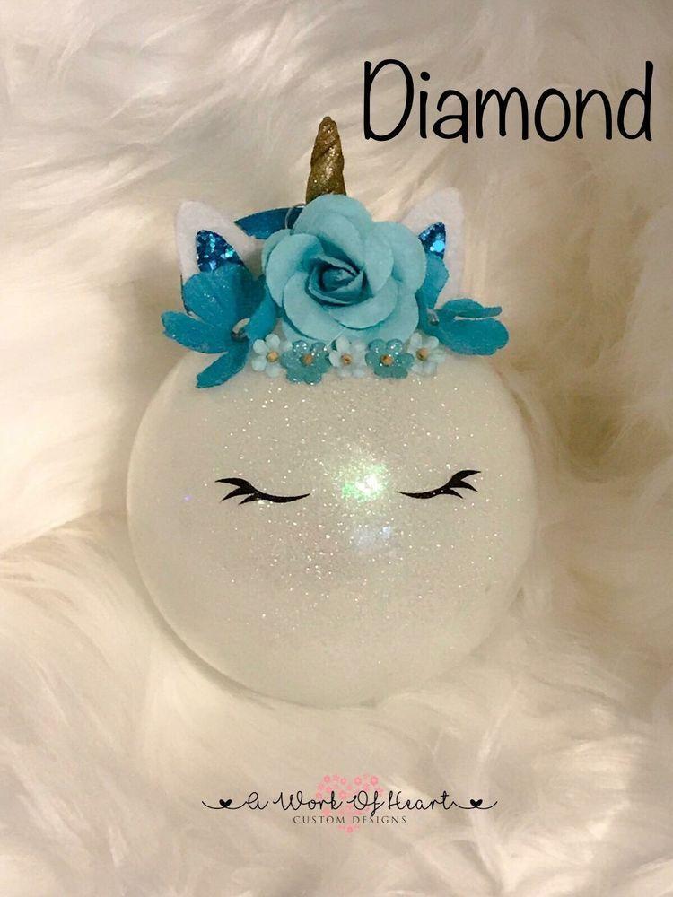"Unicorn Christmas Ornament 4"" Glass Bulb Handmade"