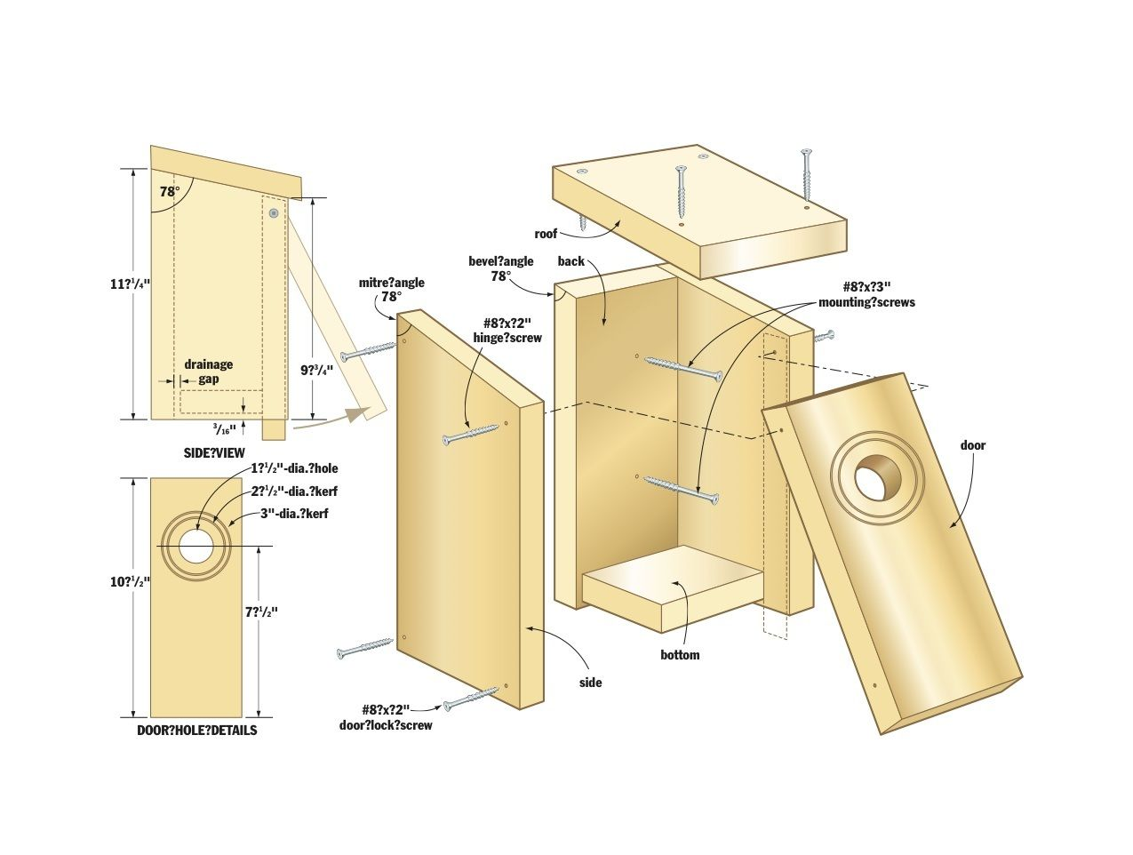 Easy Bird House Woodworking Plans Wood Projects | Projects for ...