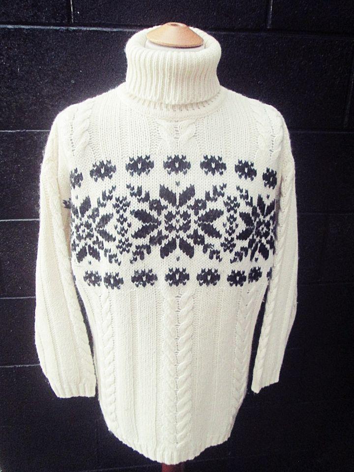 Vintage 80s Snowflake Turtleneck Heavy Knit Crazy Pattern ...