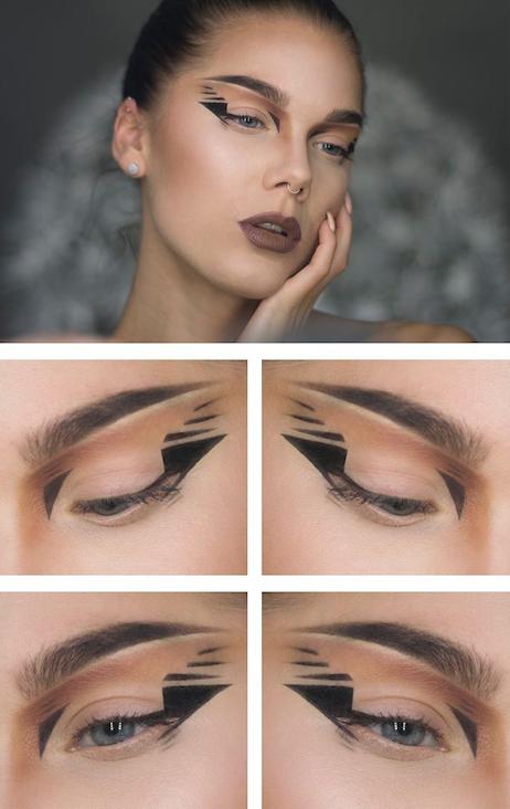 Graphic-Eye-Makeup-delineado-negro-minimalista-trendy-cat-eyes-delineado-gráfico-moda-maquillaje-Piensa en Chic