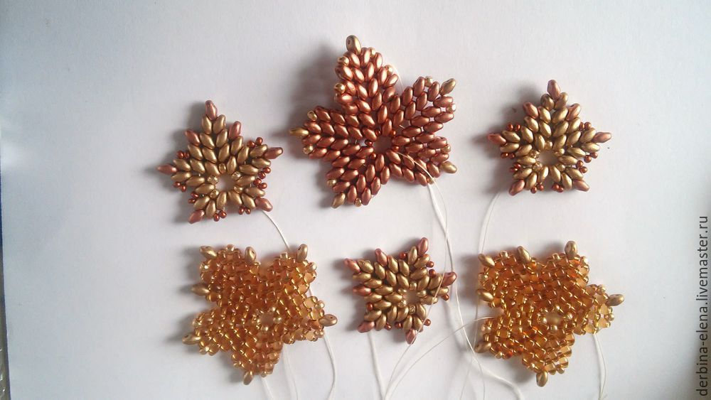 superduo maple leaf - step by step ~ Seed Bead Tutorials
