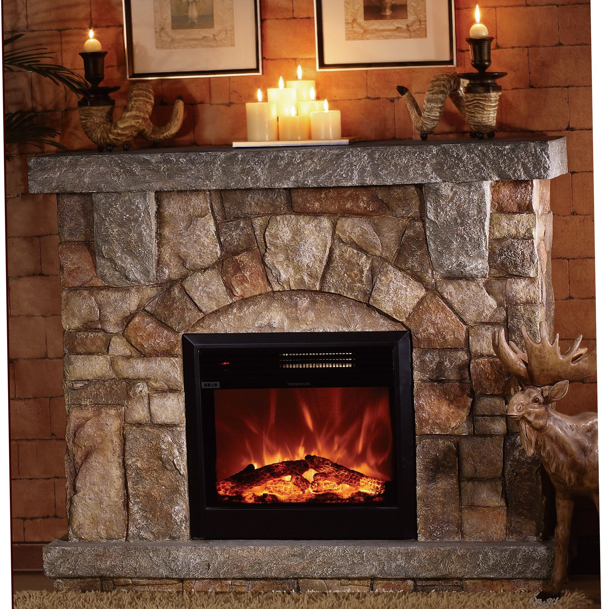 Depiction Of Stone Electric Fireplace For Modern Rustic Home Designs Stone Electric Fireplace Electric Fireplace With Mantel Electric Fireplace