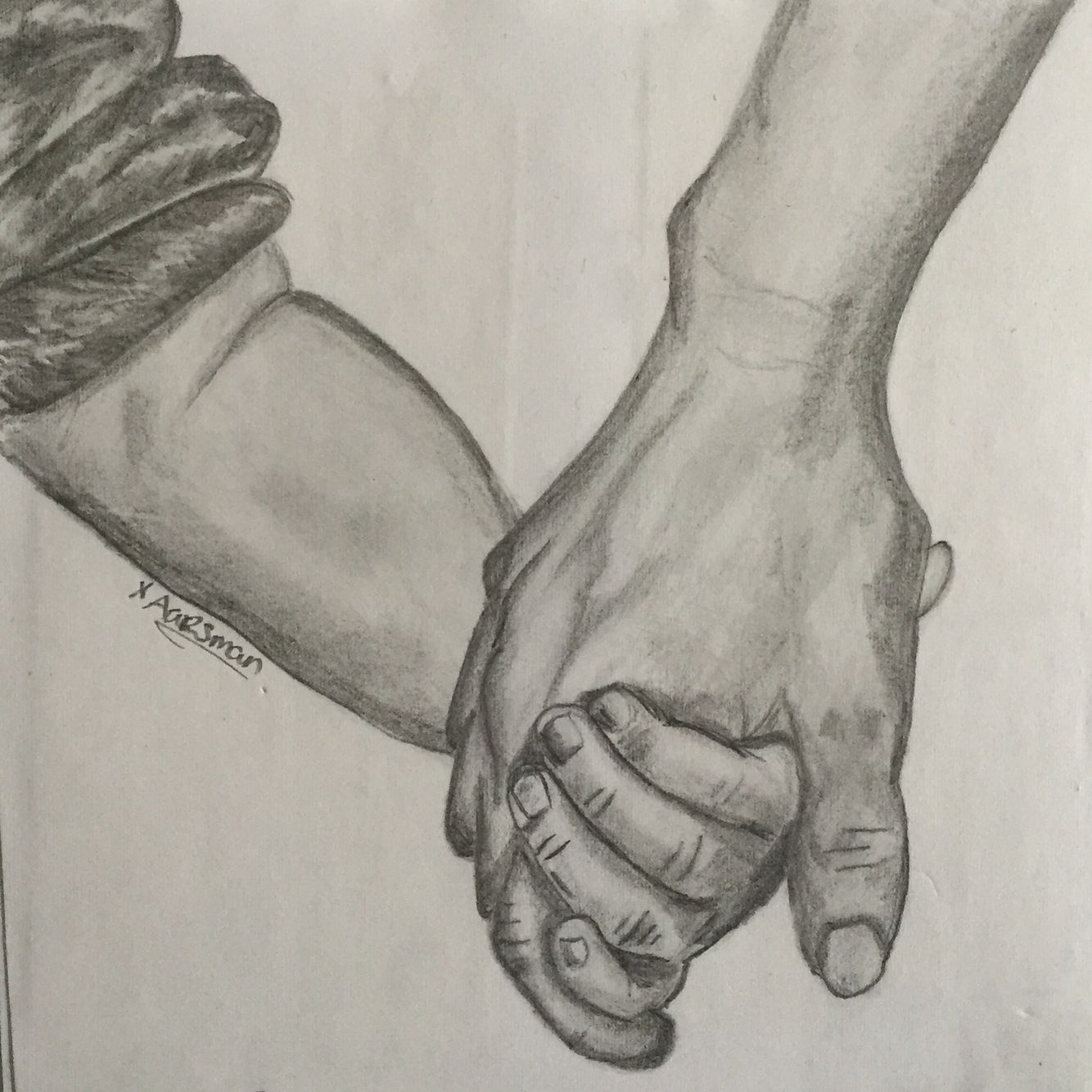 Pencil holding hands mother an child love drawing