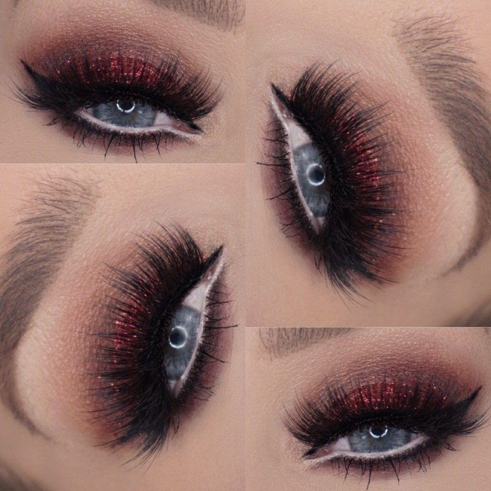 Red Glitter Eye Glitter eye makeup, Glitter makeup, Eye