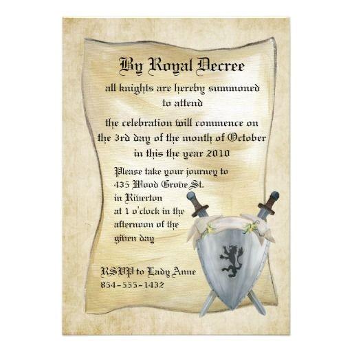 Medieval Knight Birthday Invitation Knight, Medieval and Birthdays - invitation wording ideas for dinner party