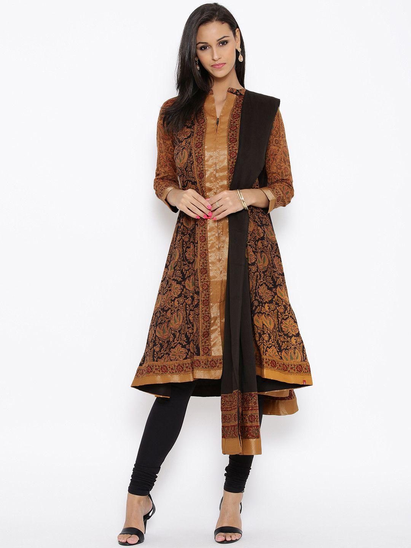 59490210c BIBA Mustard Yellow   Black Printed Salwar Suit  Anarkali