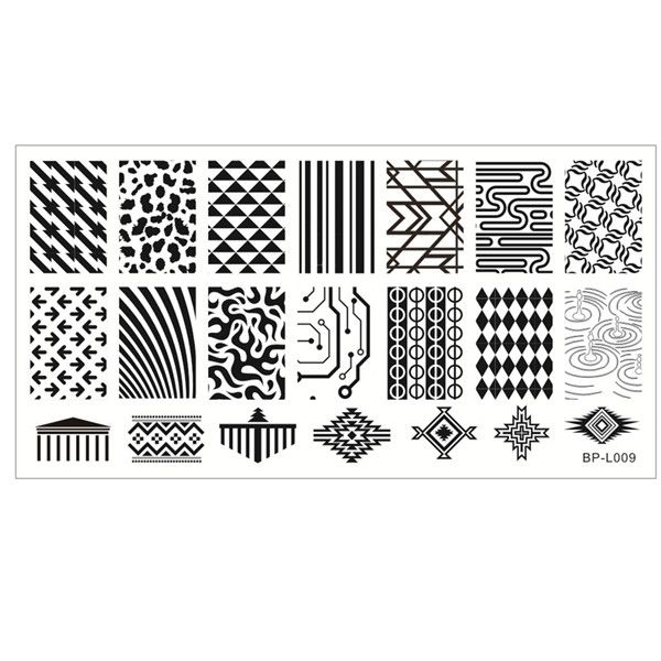 $1.99 Triangle Geo Pattern Nail Art Stamp Template Image Plate BORN PRETTY BP-L009 12.5 x 6.5cm - BornPrettyStore.com