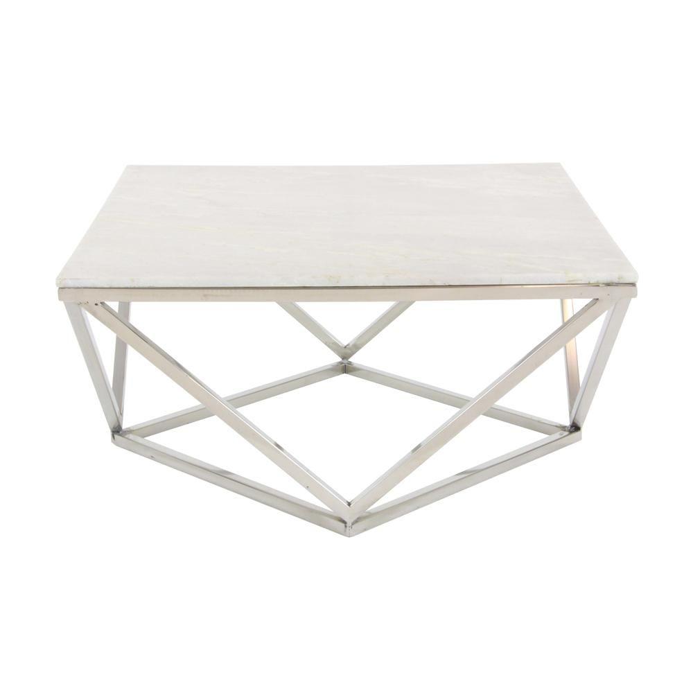 Litton Lane Modern Marble Top Coffee Table White In 2020 Coffee Table Square Marble Top Coffee Table Coffee Table [ 1000 x 1000 Pixel ]