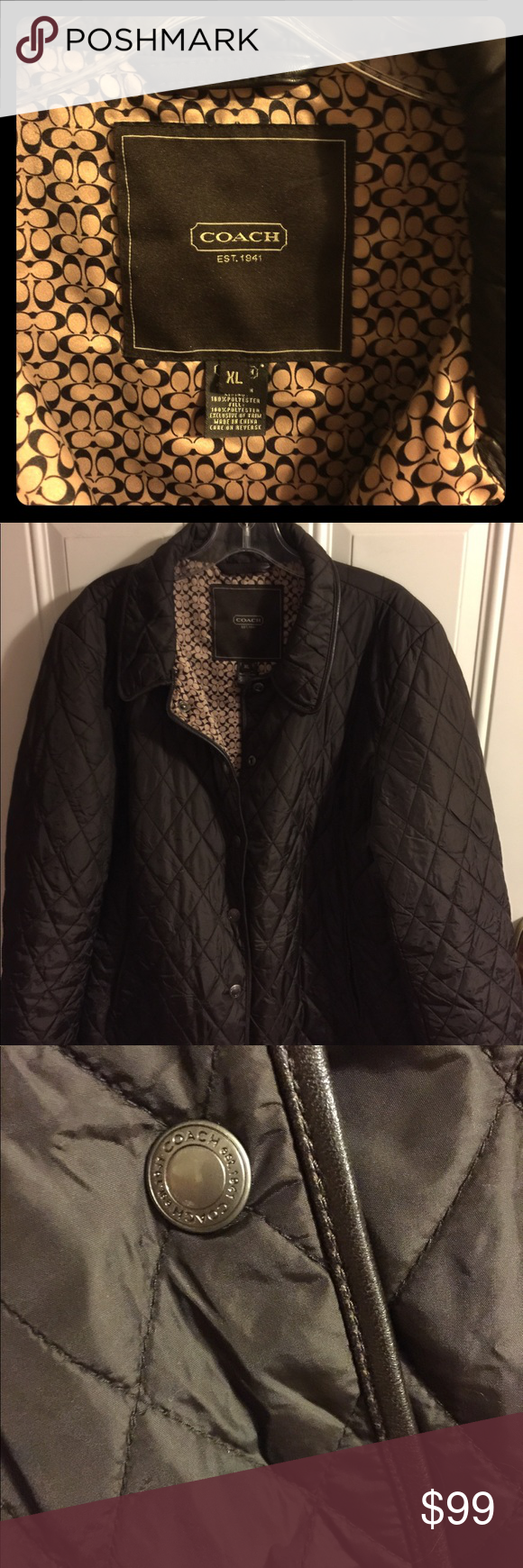 COACH signature quilted light weight jacket XL Signature