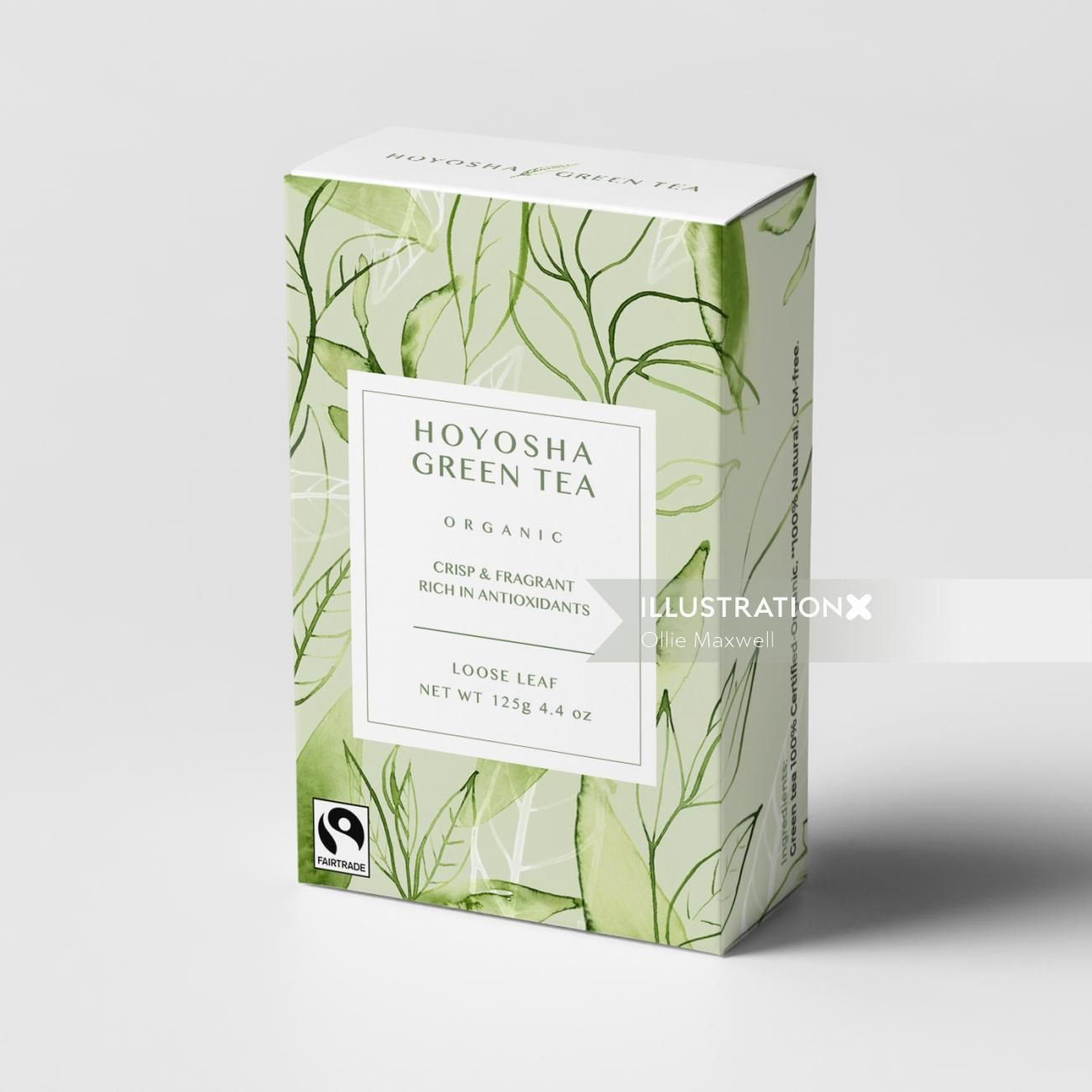 Photo of watercolour on Green tea box packaging