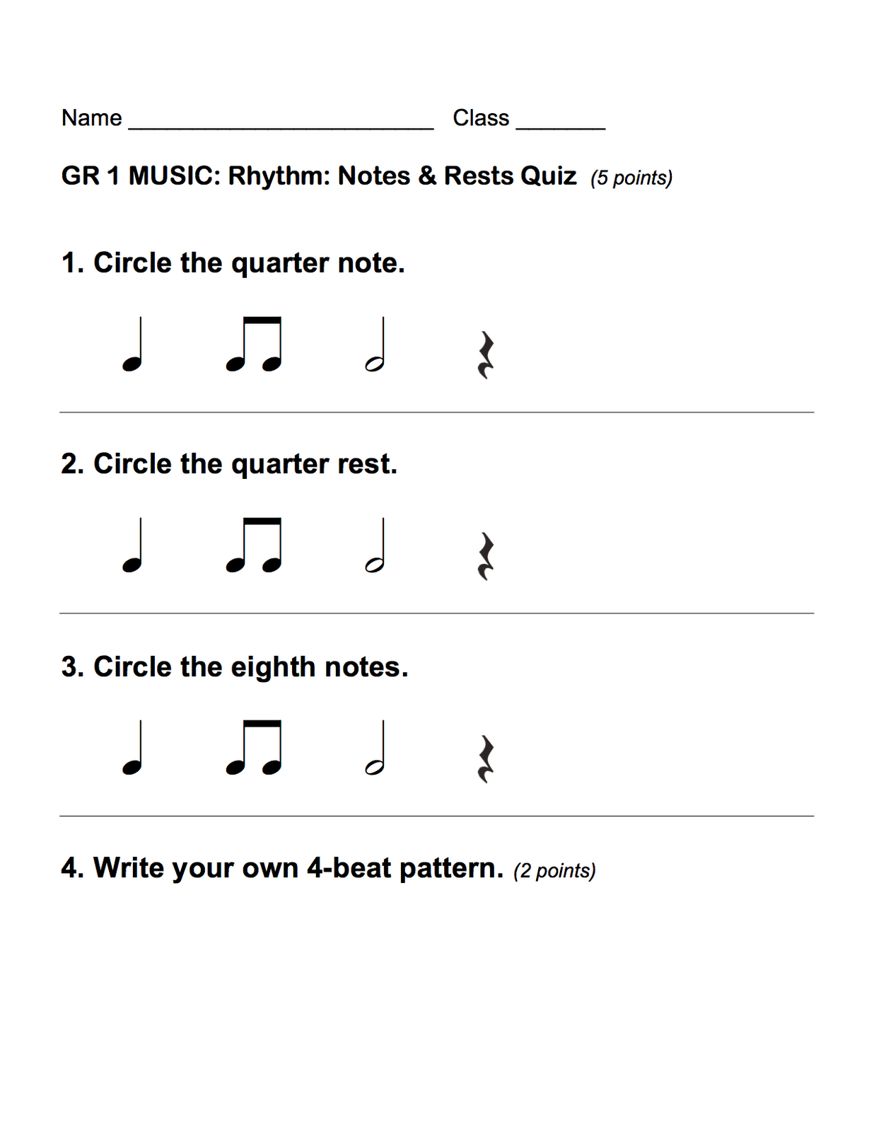 1st Grade Rhythm Assessments This Is A Good Practice For