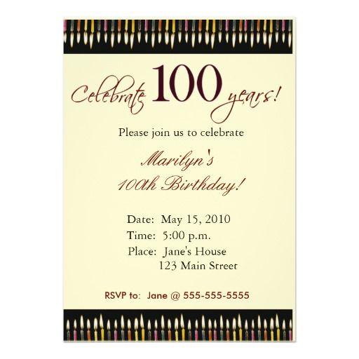 100th birthday invitation templates