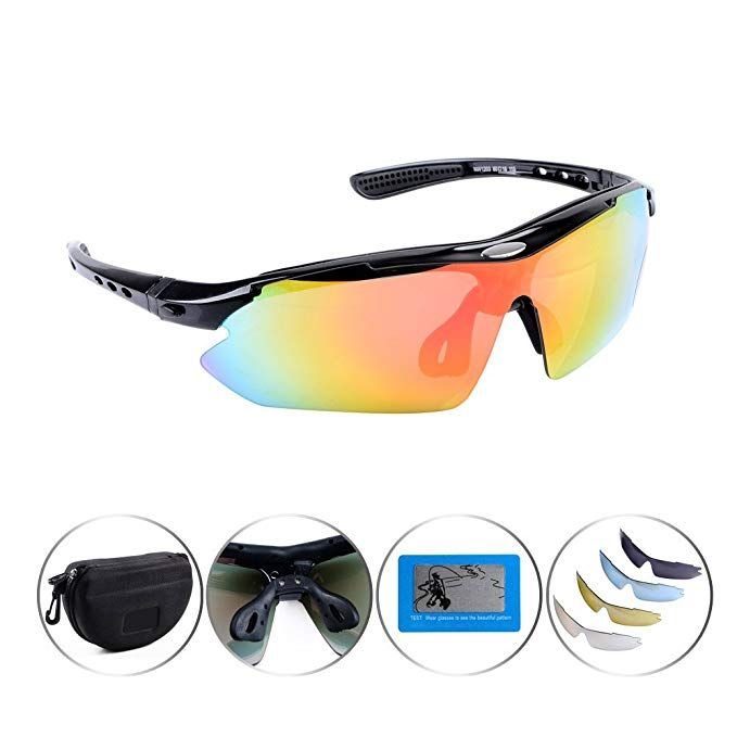 66e679cee9 Astra Depot Set of 5 Polarized Lenses UV400 Sunglasses Glasses + Carrying  Case Sport Outdoor Bicycle Cycling Review